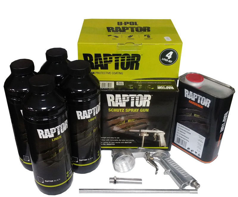 kit da 4 litri di vernice raptor black bed liner + schultz pistola spray