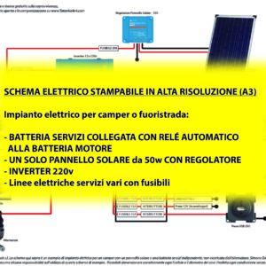 Impianto elettrico camper o fuoristrada con un pannello solare e batterie con relé sensibile al voltaggio