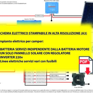 Schema per impianto elettrico camper un pannello batterie 12v separate 100 Ah 185Ah